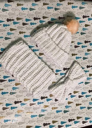Дитячий набір шапка шарф і повязка