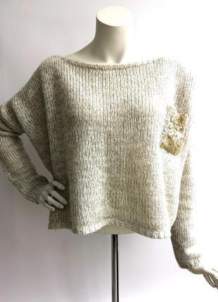 Вязанная оверсайз свободная кофта свитер джемпер реглан  yendi батал большой размер