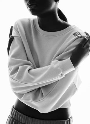 Укороченный теплый флисовый свитшот кофта худи джемпер зара zara