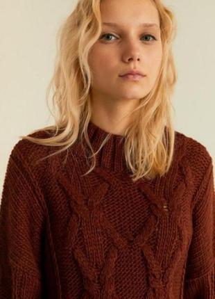 Объёмный вязаный свитер от stradivarius с шерстью л