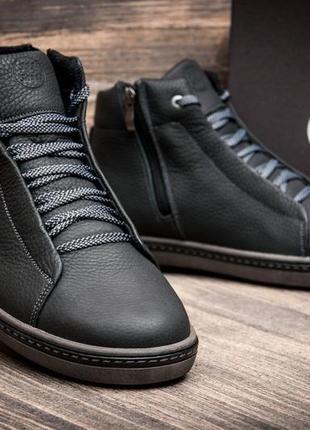 Ботинки кроссовки кожаные зимние на меху ecco black