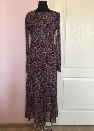 Сиреневое бордовое прозрачное платье с рукавами легкое, сетка