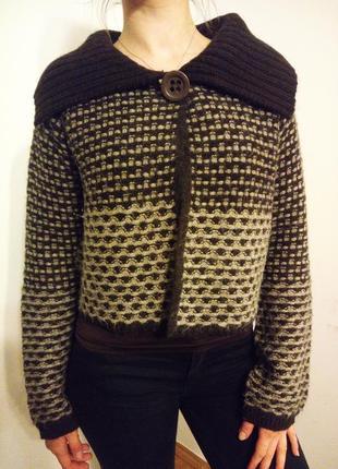 Мега теплый шерстяной свитер кардиган р.44-46