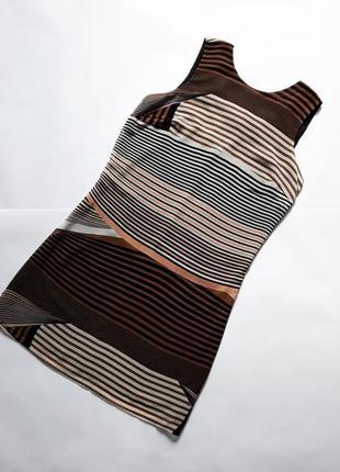 Платье  миди прямого кроя в полоску с красивой спинкой  f&f