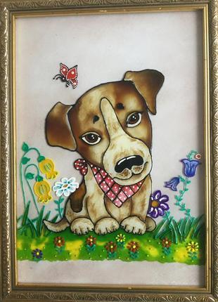 Витражная картина (щенок)