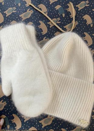 Комплект шапка перчатки варежки ангора ангоровые тёплые зимние белый вязанная