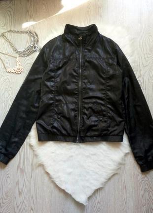 Черная короткая ветровка куртка с карманами длинный рукав плащевка высокий рост