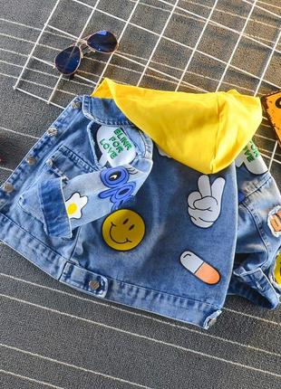 ✔ крутая джинсовка новинка. капюшон в двух цветах в наличии