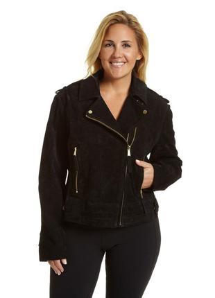 Черная замшевая короткая куртка косуха на молнии батал большого размера женская