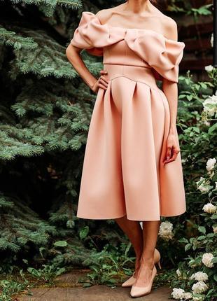 Шикарное вечернее выпускное платье asos s-m нюд. в подарок сережки!