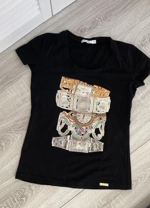 Черная футболка италия л м l m ean 13 брендовая оригинал тренд 2021