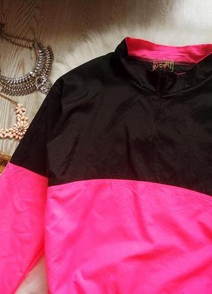 Винтажная яркая куртка ветровка анорак двухцветная черная с розовым батал оверсайз3 фото