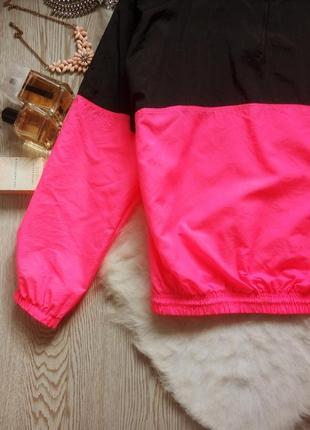 Винтажная яркая куртка ветровка анорак двухцветная черная с розовым батал оверсайз4 фото