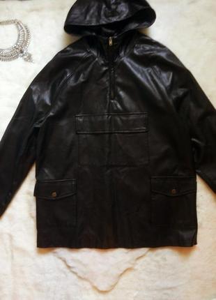 Черная кожаная длинная куртка бомбер анорак кожанка капюшоном карманами оверсайз
