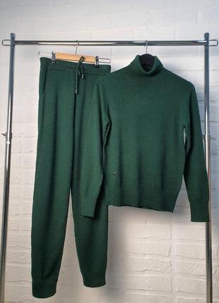 Кашемировый костюм, теплый костюм, зеленый костюм