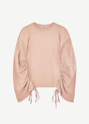 Бежевый пуловер с объёмными рукавами на завязках zara, s