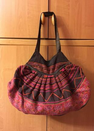 Большая текстильная бохо сумка с этно вышивкой узором