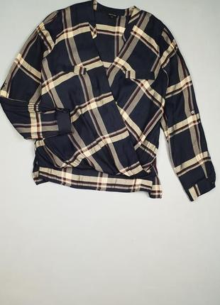 Блуза /рубашка на запах в клетку river island p.12/40