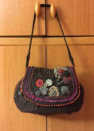 Текстильная бохо сумочка с аппликацией вышивкой индия