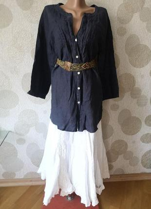 Льняная блуза туника большого размера