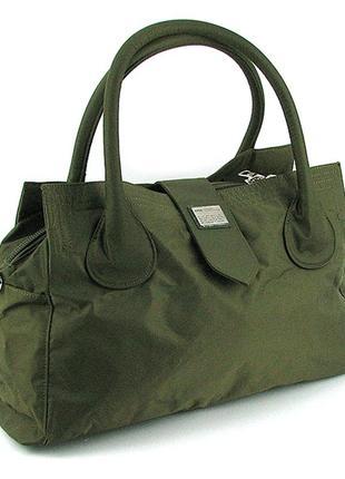 Дорожная текстильная сумка зеленая спортивная большая текстильная