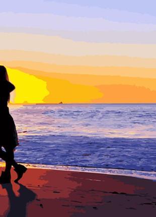 Картина по номерам 40*50 влюблённые, пляж, закат