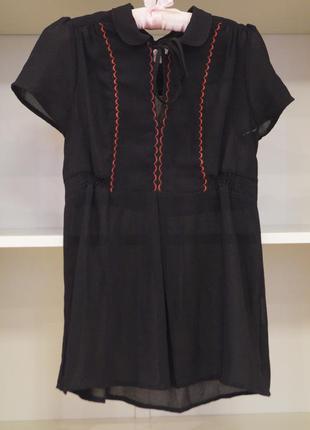 Полупрозрачная черная блуза с воротничком