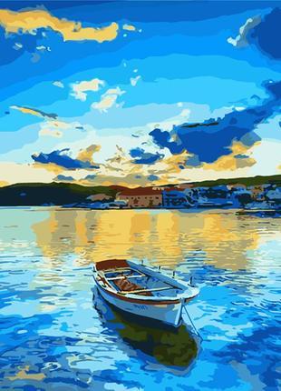 Картина по номерам 40*50 (пейзаж, лодка, море)