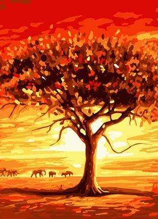 """Картина по номерам 40*50 пейзаж """"золотое солнце африки"""""""
