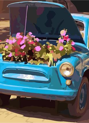 Картина по номерам 40*40 (машина, цветы)