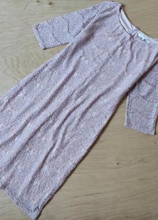 Вечернее кружевное платье прямого кроя рукав 3/4 new look