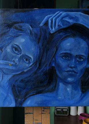 Картина маслом «голубая ночь»