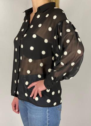 Рубашка в горохи оверсайз zara p.m