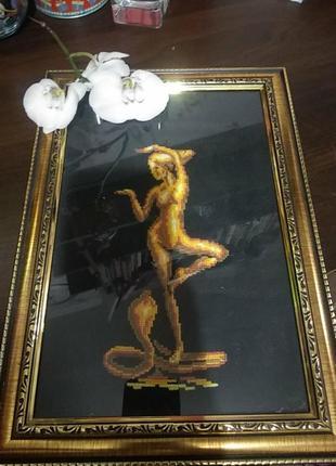 "Картина крестиком ""девушка и кобра"""