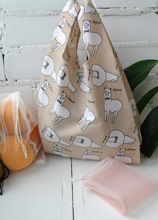 """Эко сумка-маечка """"альпака"""", эко пакет, екоторба, шоппер"""