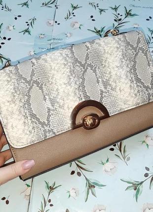 🎁1+1=3 шикарная леопардовая сумочка сумка клатч с короткой ручкой цепочкой new look
