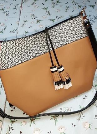 🎁1+1=3 шикарная кожаная вместительная сумка с ручкой - трансформером через плечо parfois