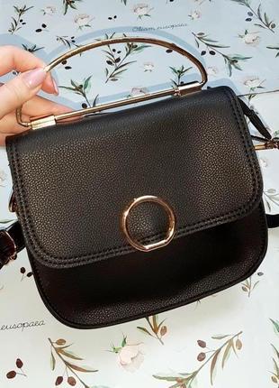🎁1+1=3 стильная маленькая кожаная черная сумка кроссбоди с длинной ручкой через плечо