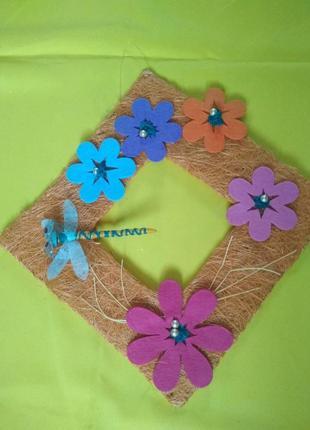 Распродажа! рамка из сизали с цветами