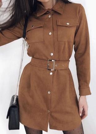 Платье рубашка с поясом ремнём эко замш замшевое коричневое