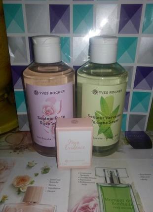 Набор ив роше: парфюмированные гели для душа вербена и роза + миниаромат мон эвиденс.