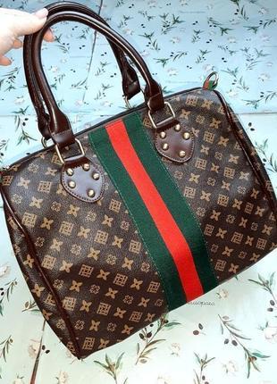 🎁1+1=3 стильная коричневая кожаная вместительная сумка с короткими ручками