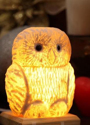 """Соляная лампа """"совенок"""" природный ионизатор воздуха."""