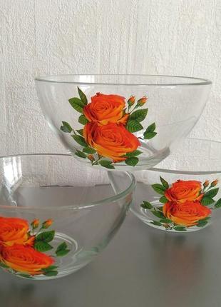 Салатники стекло с деколем, удобный объём, новые