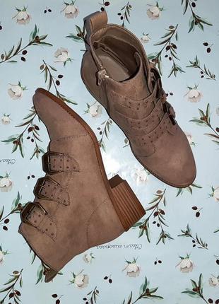 🎁1+1=3 шикарные замшевые полусапожки ботинки демисезон с замочками new look, размер 37