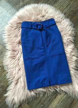 Крутая плотная миди юбка с поясом