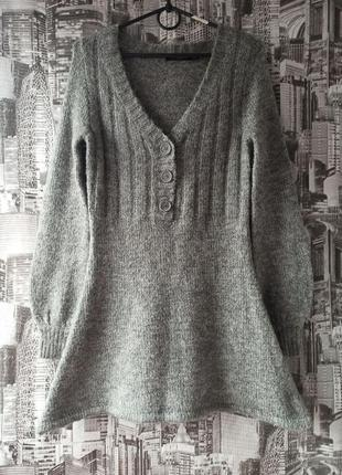 Теплое  платье трапеция теплая туника размер44-46