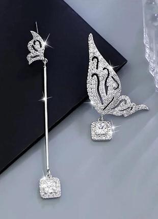 Шикарные асимметричные серьги бабочки, покрытие серебро 925 пробы, цирконы