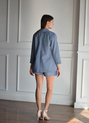 Женский летний льняной костюм для офиса, женский деловой костюм, пиджак, шорты4 фото
