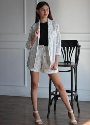 Женский летний льняной костюм для офиса, женский деловой костюм из льна